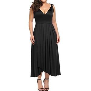 🆕 Plus Size Slimming Black V Neck Cocktail Dress